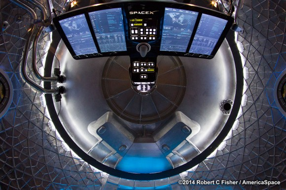 Would you 'Enter the Dragon'? First look inside SpaceX Dragon V2 next generation astronaut spacecraft unveiled by CEO Elon Musk on May 29, 2014. Credit: Robert Fisher/AmericaSpace