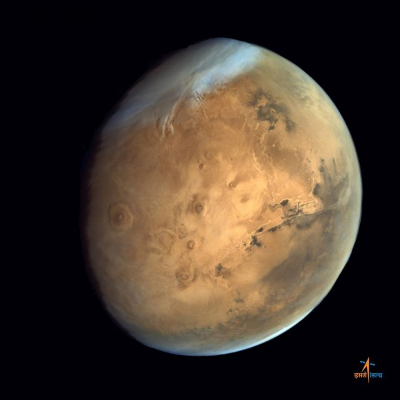 Olympus Mons, Tharsis Bulge and Valles Marineris from from ISRO's Mars Orbiter Mission.   Credit: ISRO