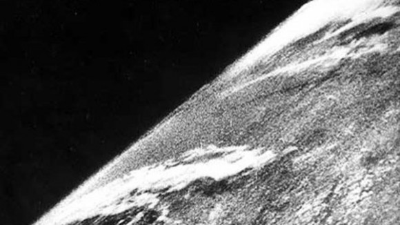 The first photo of Earth from space was taken on Oct. 24, 1947 (Credit: White Sands Missile Range/Applied Physics Laboratory)