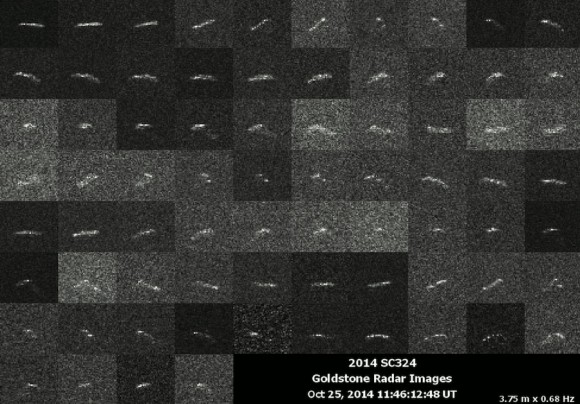 Goldstone delay-Doppler images of 2014 SC324 obtained on October 25. The images span an interval of about 45 minutes and show considerable rotation by this object, which has an irregular and elongated shape. Credit: NASA/JPL