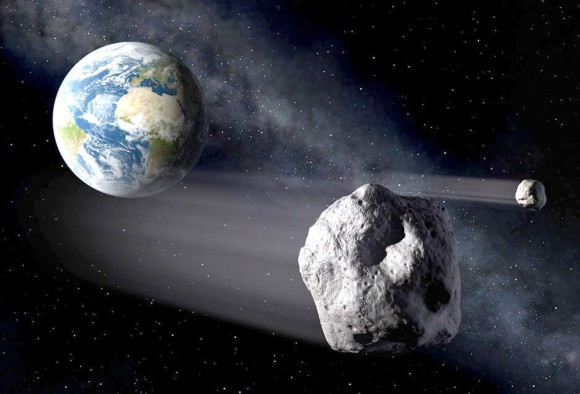 Illustration of small asteroids passing near Earth. Credit: ESA / P. Carril