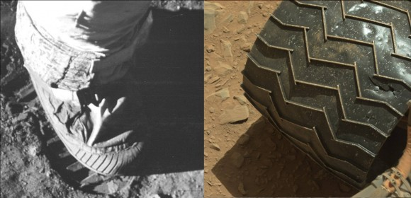 Over forty years separate the step made by an Apollo astronaut and the cleated wheel of the Curiosity Rover on Mars. (Photo Credits: NASA)