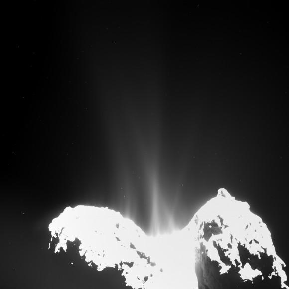 This Rosetta image of Comet 67P/Churyumov-Gerasimenko shows spectacular jets erupting from the small body on Sept. 10, 2014. Credit: ESA/Rosetta/MPS for OSIRIS Team MPS/UPD/LAM/IAA/SSO/INTA/UPM/DASP/IDA