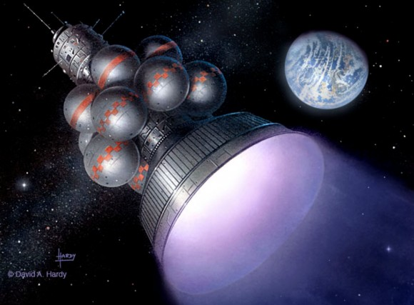 Could the future of fusion driven rockets for interplantary or even interstellar travel be near at hand? Engineers at the Lockheed-Martin Skunk Works believe they will have a compact fusion reactor prototype operational in five years and in use within 10 years. (Illustration Credit:© David A. Hardy/www.astroart.org,  Project Daedalus)