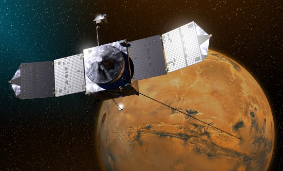An artist's conception of MAVEN orbiting Mars. Image Credit: NASA / Goddard Space Flight Center