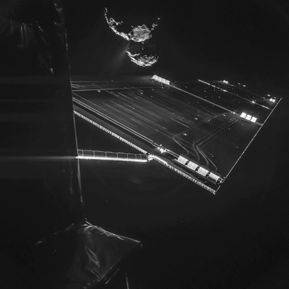 The Rosetta spacecraft takes a selfie Oct. 7 with its target, 67P/Churyumov–Gerasimenko, from an altitude of about 9.9 miles (16 kilometers). Credit: ESA/Rosetta/Philae/CIVA
