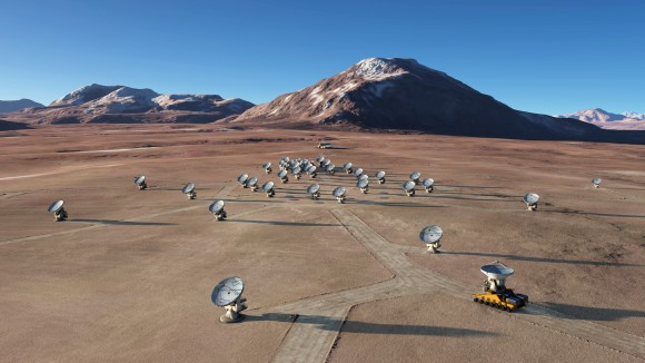 The ALMA array, as it looks now completed and standing on a  Chilean high plateau at 5000 meters (16,400 ft) altitude. The first observations with ALMA of Titan have added to the Saturn moon's list of mysteries. {Credit: ALMA (ESO/NAOJ/NRAO) / L. Calçada (ESO)}