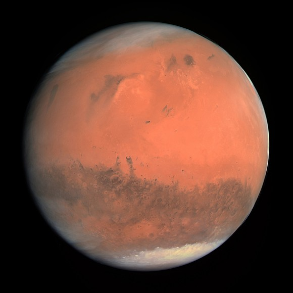 The first true-colour image of Mars from ESA's Rosetta generated using the OSIRIS orange (red), green and blue colour filters. The image was acquired on 24 February 2007 at 19:28 CET from a distance of about 240 000 km. Credit: MPS for OSIRIS Team MPS/UPD/LAM/ IAA/ RSSD/ INTA/ UPM/ DASP/ IDA