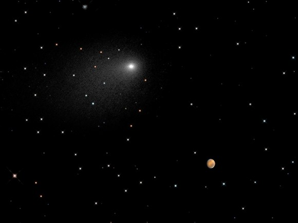 Comet Siding Spring near Mars in a composite image by the Hubble Space Telescope, capturing their positions between Oct. 18 8:06 a.m. EDT (12:06 p.m. UTC) and Oct. 19 11:17 p.m. EDT (Oct. 20, 3:17 a.m. UTC). Credit: NASA, ESA, PSI, JHU/APL, STScI/AURA