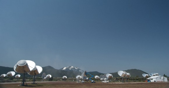 The Allen Telescope Array is the first radio telescope designed specifically for SETI Photo by Colby Gutierrez-Kraybill