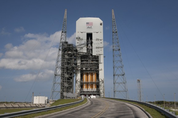 Orion atop Delta 4 Heavy Booster.   Credit: NASA/Kim Shiflett