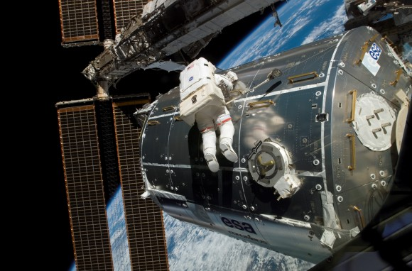 The Columbus module is installed on the International Space Station in 2008. Pictured is NASA astronaut Rex Walheim. Credit: NASA