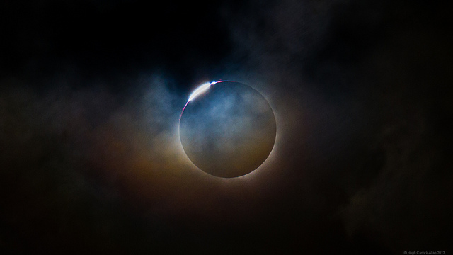 The total solar eclipse of November 2012 as seen from