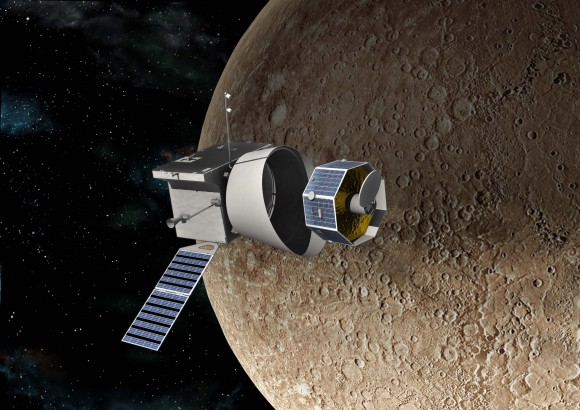 Artist's impression of the European Space Agency's BepiColombo mission in operation around Mercury. Credit: Astrium