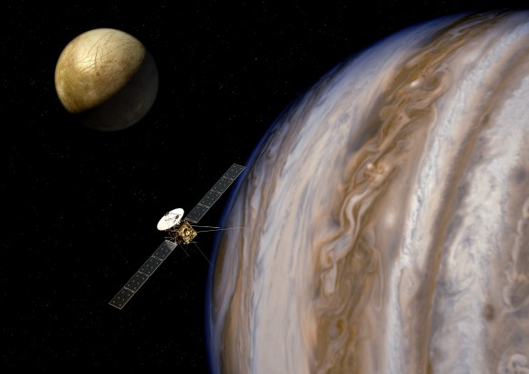 Artist's impression of the Jupiter Icy Moons Explorer (JUICE) near Jupiter and one of its moons, Europa. Credit: ESA/AOES