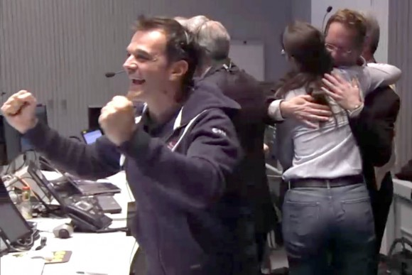 Excitement ripples through the ESA control room with the news that Philae successfully landed on the comet this morning. Credit: ESA