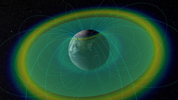 Visualization of the radiation belts with confined charged particles (blue & yellow) and plasmapause boundary (blue-green surface). Image Credit:  NASA/Goddard