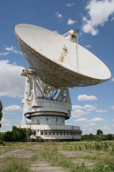 The 70 meter Evpatoria Planetary Radar radio telescope in the Crimea was used to transmit interstellar messages in 1999, 2001, 2003, and 2008