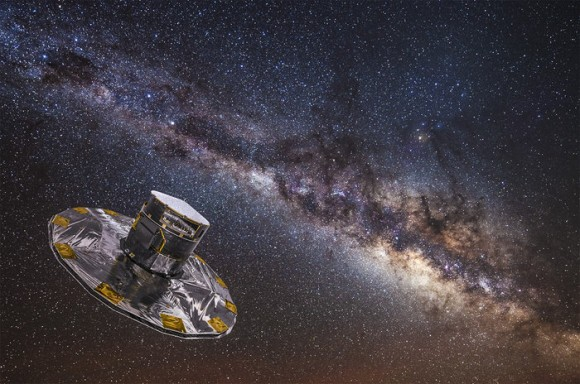 ESA's Gaia is currently on a five-year mission to map the stars of the Milky Way. Image credit: ESA/ATG medialab; background: ESO/S. Brunier.