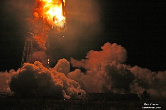 Antares descended into hellish inferno after first stage propulsion system at base of Orbital Sciences Antares rocket exploded moments after blastoff from NASA's Wallops Flight Facility, VA, on Oct. 28, 2014, at 6:22 p.m. Credit: Ken Kremer – kenkremer.com