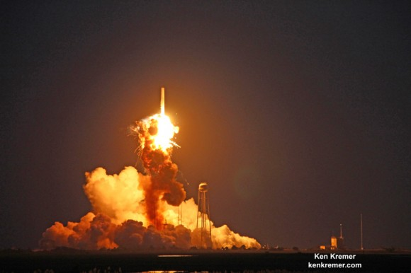 First stage propulsion system at base of Orbital Sciences Antares rocket appears to explode moments after blastoff from NASA's Wallops Flight Facility, VA, on Oct. 28, 2014, at 6:22 p.m. Credit: Ken Kremer – kenkremer.com