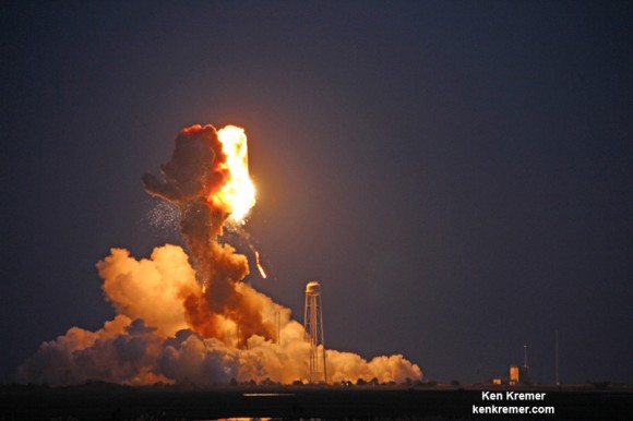 Orbital Sciences Antares rocket explodes moments after blastoff from NASA's Wallops Flight Facility, VA, on Oct. 28, 2014, at 6:22 p.m. Credit: Ken Kremer – kenkremer.com
