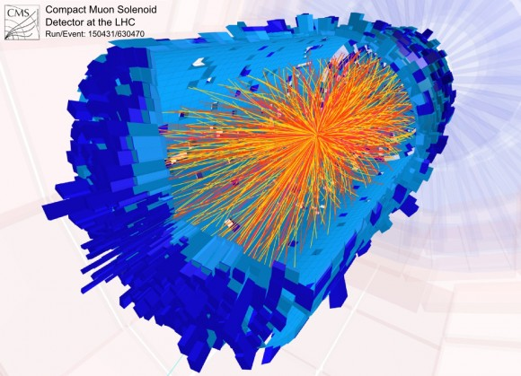 This is the signature of one of 100s of trillions of particle collisions detected at the Large Hadron Collider. The combined analysis lead to the discovery of the Higgs Boson. This article describes one team in dissension with the results. (Photo Credit: CERN)
