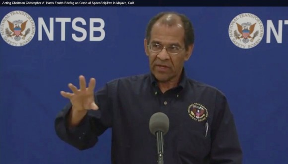 NTSB Acting Chairman Christopher Hart shown explaining details of the investigation during a Monday Press Conference at Mojave Air & Space Port. (Photo Credit: NTSB)