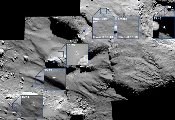 Images from the Rosetta spacecraft show Philae drifting across the surface of its target comet during landing Nov. 12, 2014. Credit: ESA/Rosetta/MPS for OSIRIS Team MPS/UPD/LAM/IAA/SSO/INTA/UPM/DASP/IDA