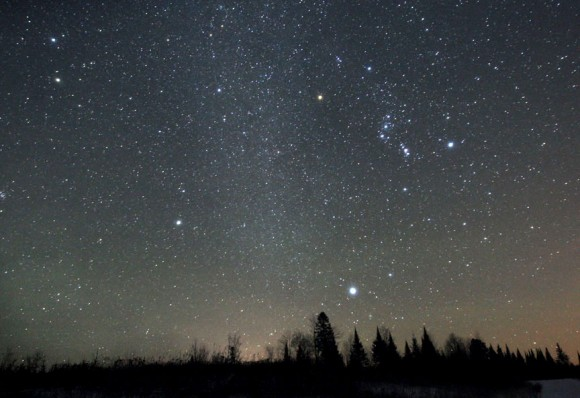 Orion (at right), Sirius (bottom) and the pale wintertime Milky Way (center) are well-placed for viewing around 11 o'clock local time in late November. Credit: Bob King