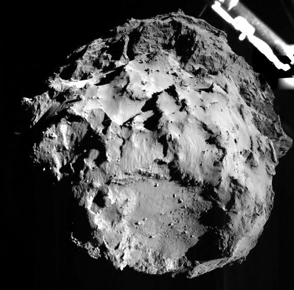 First photo released of Comet 67P/C-G taken by Philae during its descent. The view is just 1.8 miles above the comet. Credit: The ROLIS instrument is a down-looking imager that acquires images during the descent and doubles as a multispectral close-up camera after the landing. The aim of the ROLIS experiment is to study the texture and microstructure of the comet's surface. ROLIS (ROsetta Lander Imaging System) is a descent and close-up camera on the Philae Lander.