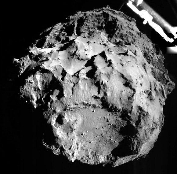 First photo released of Comet 67P/C-G taken by Philae during its descent. The view is just 1.8 miles above the comet. Credit: ESA