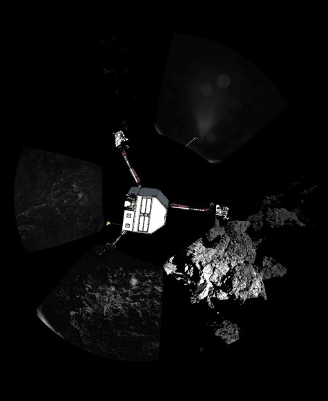 Philae landed nearly vertically on its side with one leg up in outer space. Here we see it in relation to the panoramic photos taken with the CIVA cameras. Credit: ESA