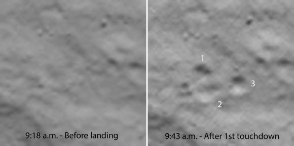 Close-up do primeiro site de aterrissagem antes Philae desembarcada (esquerda) e depois mostra claramente as impressões de seus três coxins em solo empoeirado do cometa.  Os tempos são CST.  3,3 pés de Philae (1-m) de diâmetro.  Crédito: ESA
