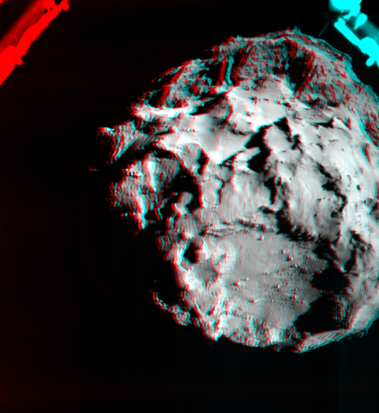 A 3-D image of Comet 67P/Churyumov–Gerasimenko taken from the Philae lander as it descended. The picture is a combination of two images from the Rosetta Lander Imaging System (ROLIS) taken about an hour before landing at 10:34 a.m. EST (3:34 p.m. UTC) on Nov. 12, 2014. Credit: ESA/Rosetta/Philae/ROLIS/DLR