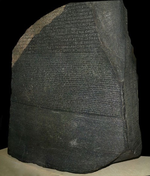 The Rosetta stone, now displayed at the British Museum in London, was used by Jean-Francois Champollion to decipher Egyptian heiroglyphics, Credit: Hans Hillewaert, British Museum