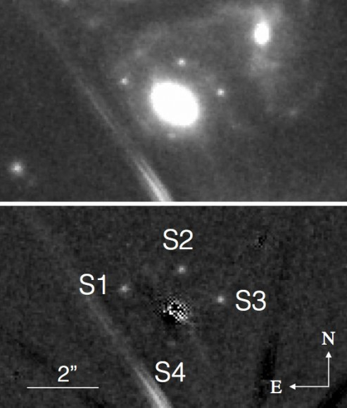 The four dots around the bright source, an elliptical galaxy, are multiple images of the new supernova taken with the Hubble Space Telescope between November 10-20, 2014. In the bottom image, the galaxy has been digitally removed to show only the supernova. The line segments are diffraction spikes from a nearby star. Credit: P.L. Kelly et. all
