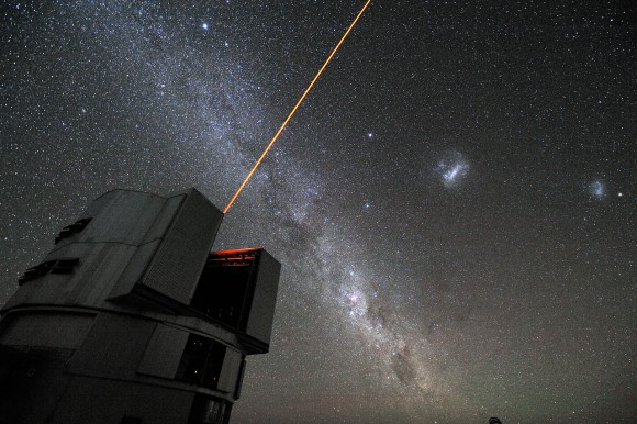 The Very Large Telescoping Interferometer firing it's adaptive optics laser.  Credit: ESO/G. Hüdepohl