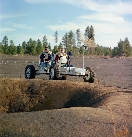 Apollo 15 astronauts David Scott and James Irwin practice LRV operations in Arizona, Nov. 2 1970 (Credit: NASA. Research by J.L. Pickering)