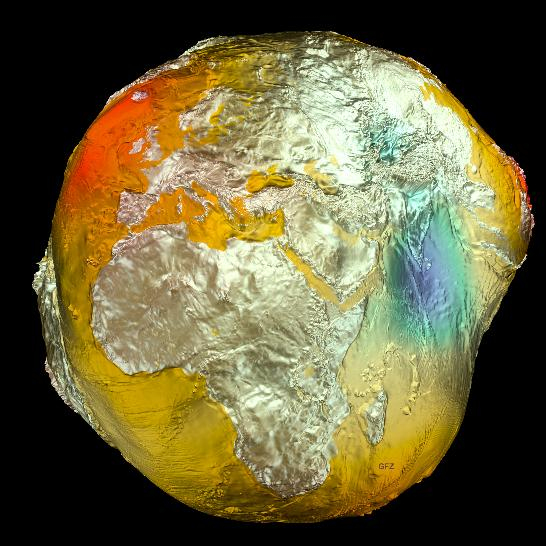 The Geoid 2011 model, based on data from LAGEOS, GRACE, GOCE and surface data. Credit: GFZ