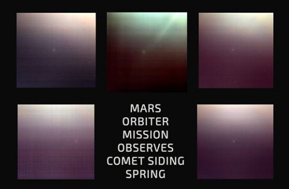 Observations of Comet Siding Spring Oct. 19 by the Mars Orbiter Mission. Credit: Indian Space Research Organisation
