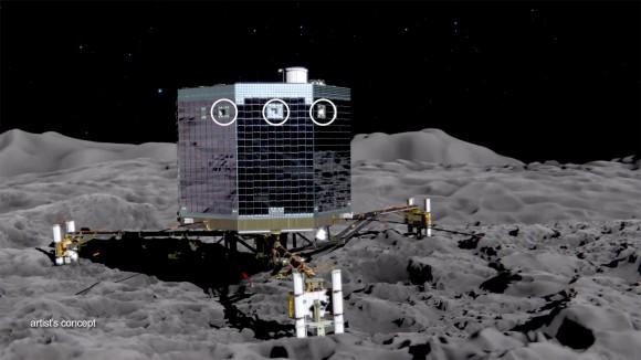 Artist's concept of the Rosetta mission's Philae lander on the surface of comet 67P/Churyumov-Gerasimenko. Image Credit:  ESA
