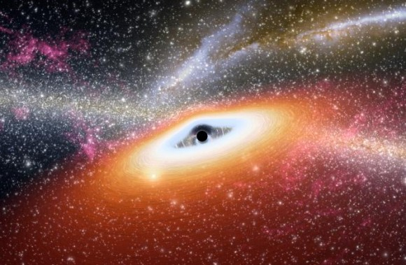 This artist's conception illustrates one of the most primitive supermassive black holes known (central black dot) at the core of a young, star-rich galaxy. Image credit: NASA/JPL-Caltech