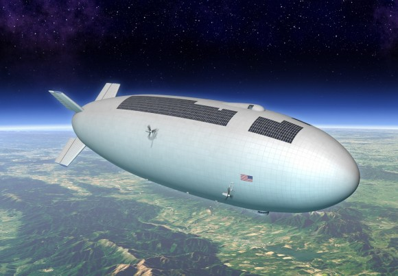 Artist's concept of a NASA airship that would fly at a suborbital altitudes for hours at a time. Credit: Mike Hughes (Eagre Interactive)/Keck Institute for Space Studies