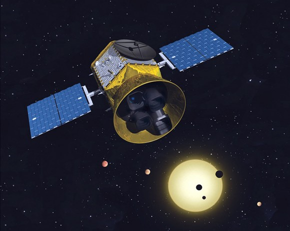 A conceptual image of the Transiting Exoplanet Survey Satellite. Image Credit: MIT