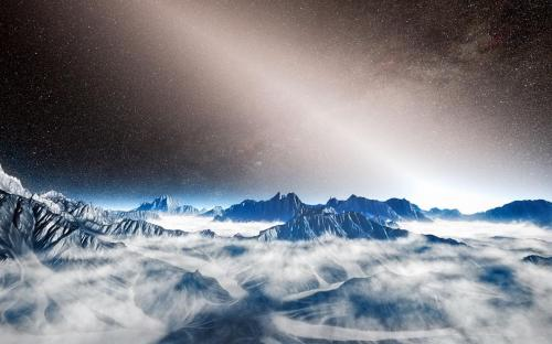 Artist's impression of zodiacal light viewed from the surface of an exoplanet. Credit: ESO/L. Calçada