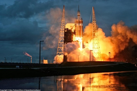 Orion's inaugural launch on Dec. 5, 2014 atop United Launch Alliance Delta 4 Heavy rocket at Space Launch Complex 37 (SLC-37) at Cape Canaveral Air Force Station, Florida at 7:05 a.m.  Credit: Alex Polimeni/Zero-G News/AmericaSpace