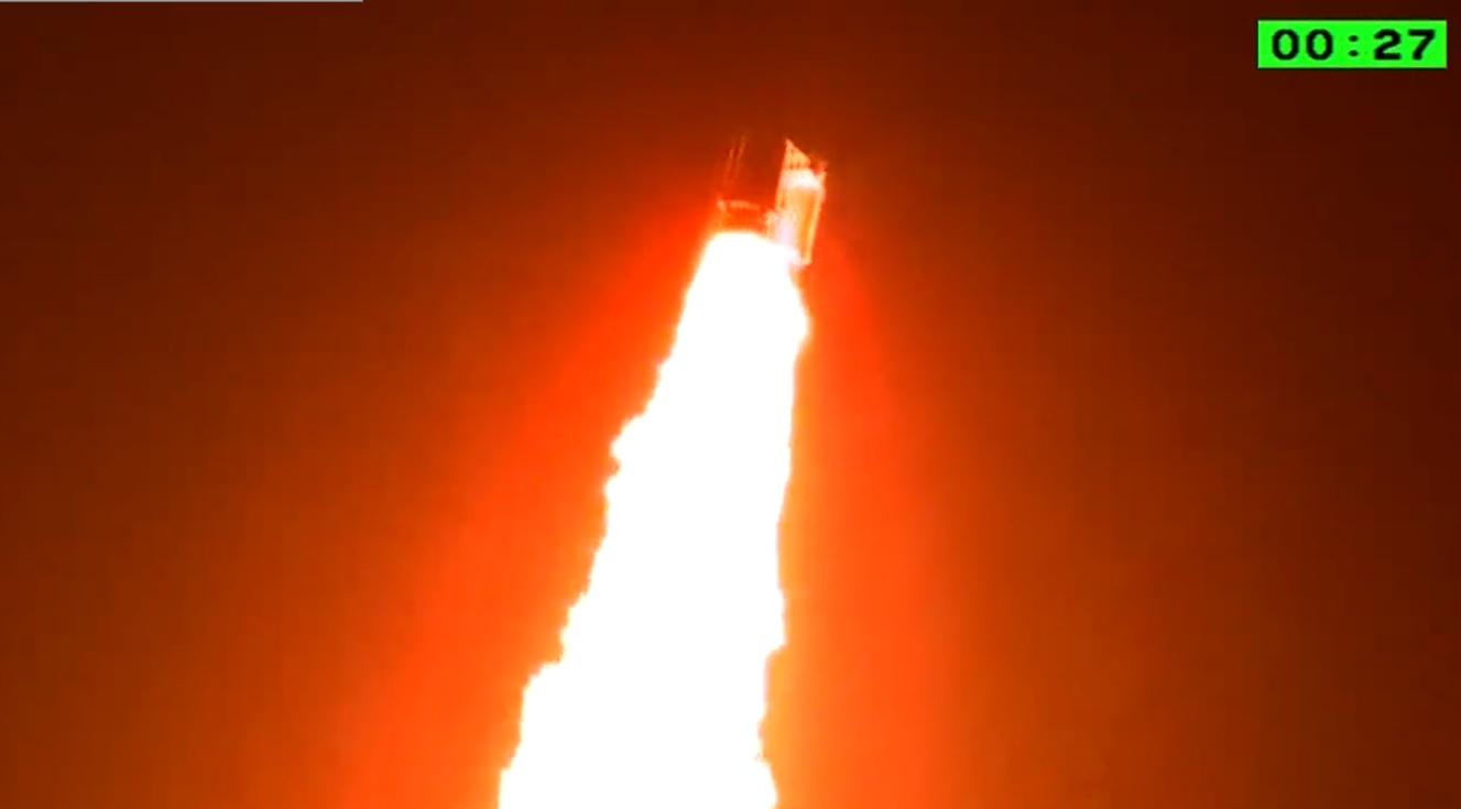 An Ariane 5 heads spaceward. Credit: Ariane.tv screenshot.