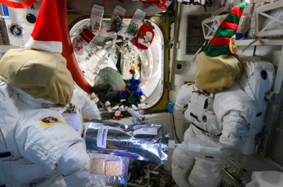 No chimney up here- so I left powdered milk and freeze dried cookies in the airlock. Fingers crossed. Credit: NASA/Terry Virts