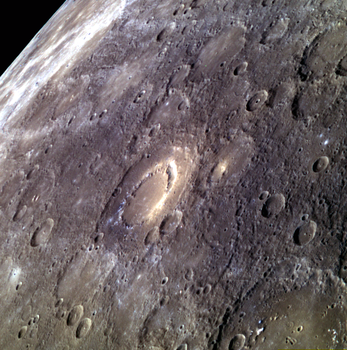 The crater Scarlatti (at center) shines clearly in this image of Mercury taken by the MESSENGER spacecraft. Credit: NASA/Johns Hopkins University Applied Physics Laboratory/Carnegie Institution of Washington